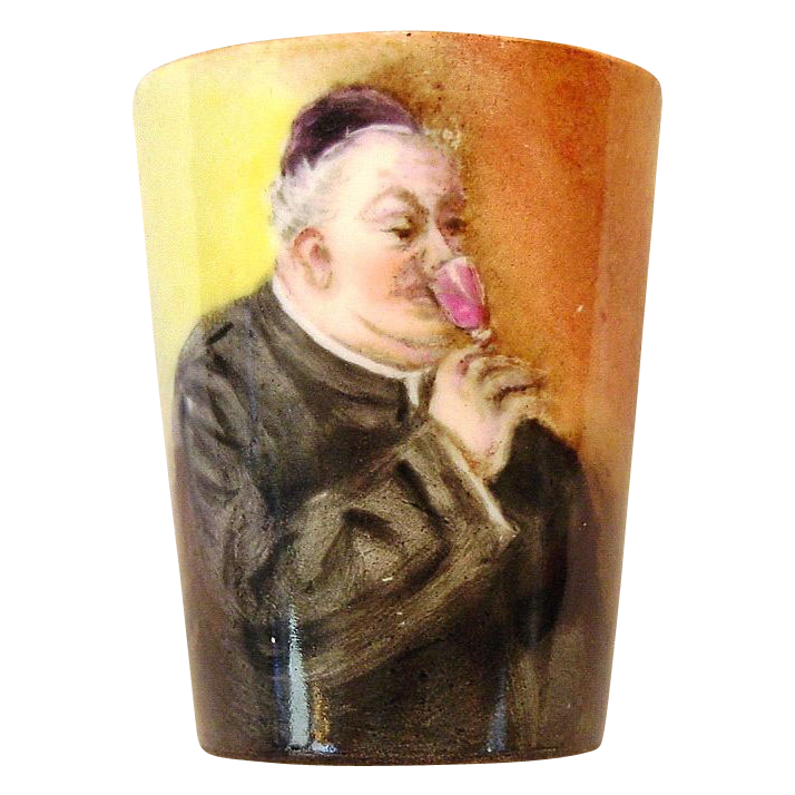 Neat Limoges Porcelain Cordial Cup ~ Hand Painted with Monk Drinking Wine ~ Artist Signed ~ Paroutaud Freres France1903-1917