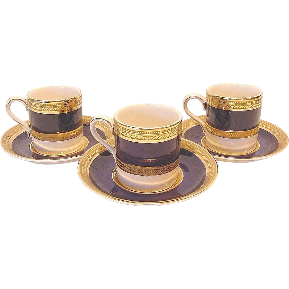 "(3) Sets of English ""Crown Ducal Admiral-Blue"" Demitasse Cups and Saucers ~ Cobalt Blue and Gold Encrusted ~ A G Richardson & Co Ltd England 1925-1960"