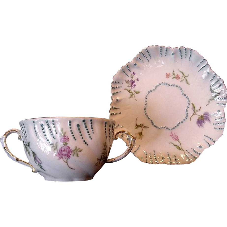 Exquisite Limoges Porcelain Cup and Saucer ~ Hand Painted with Various Flowers ~ A. Lanternier