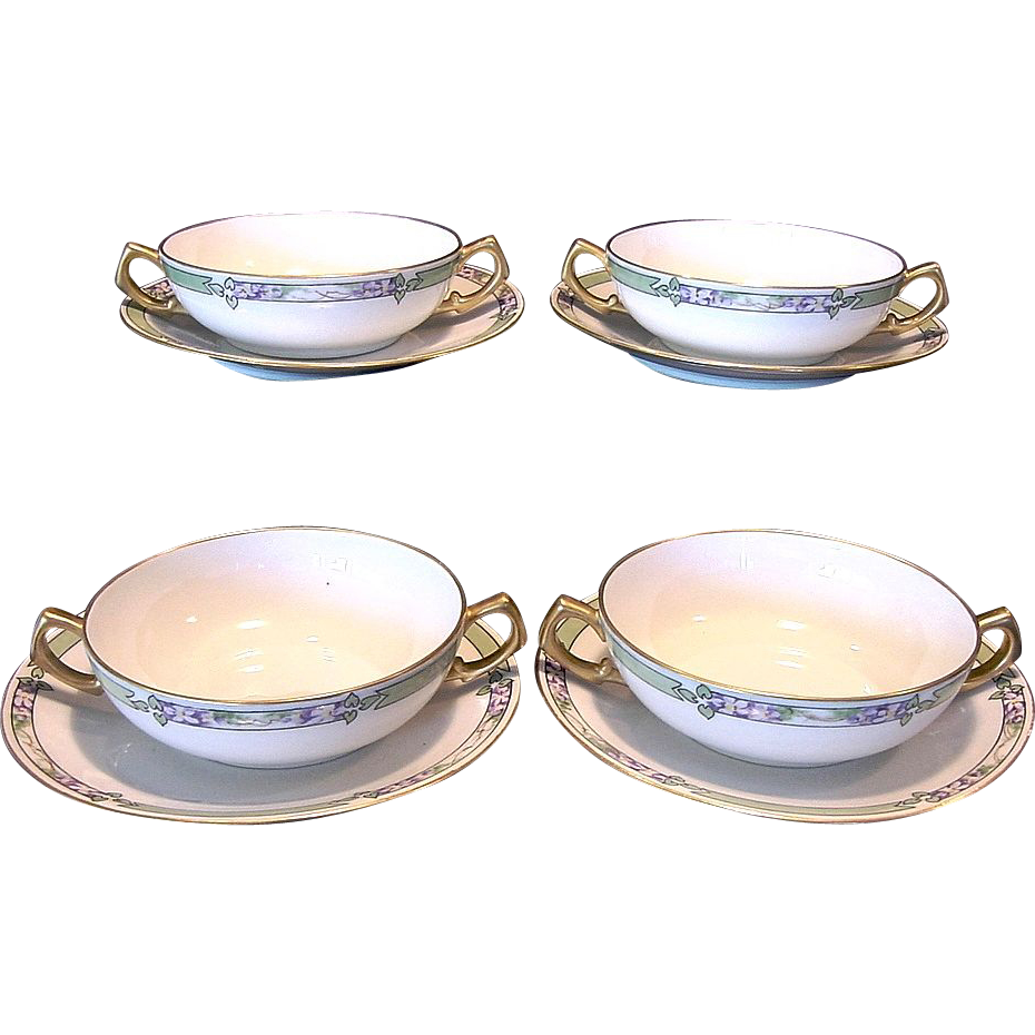 4 Sets ~ Delightful Bavarian Two Handled Bouillon Cups and Matching Limoges Sandwich Plates ~ Hand Painted with Violets ~ Artist Signed ~  Jaegers & Co / Bernardaud & Co France 1900-1914