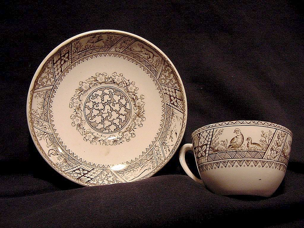 Wonderful Old Cup & Saucer ~ English Aesthetic Brown Transferware ~ Menton Pattern~  Wedgwood & Co pattern 1883