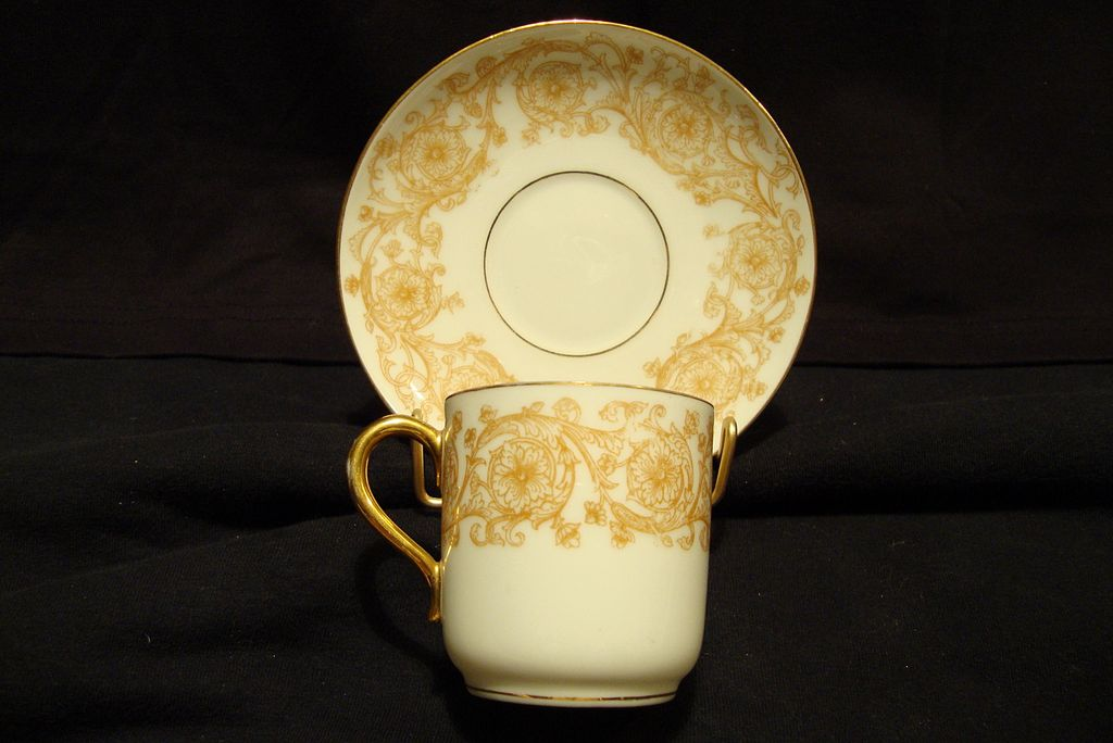 Awesome LIMOGES Porcelain Demitasse Cup and Saucer ~ Golden Yellow and White Flowers and Vines ~ Delinieres & Co 1879-1883