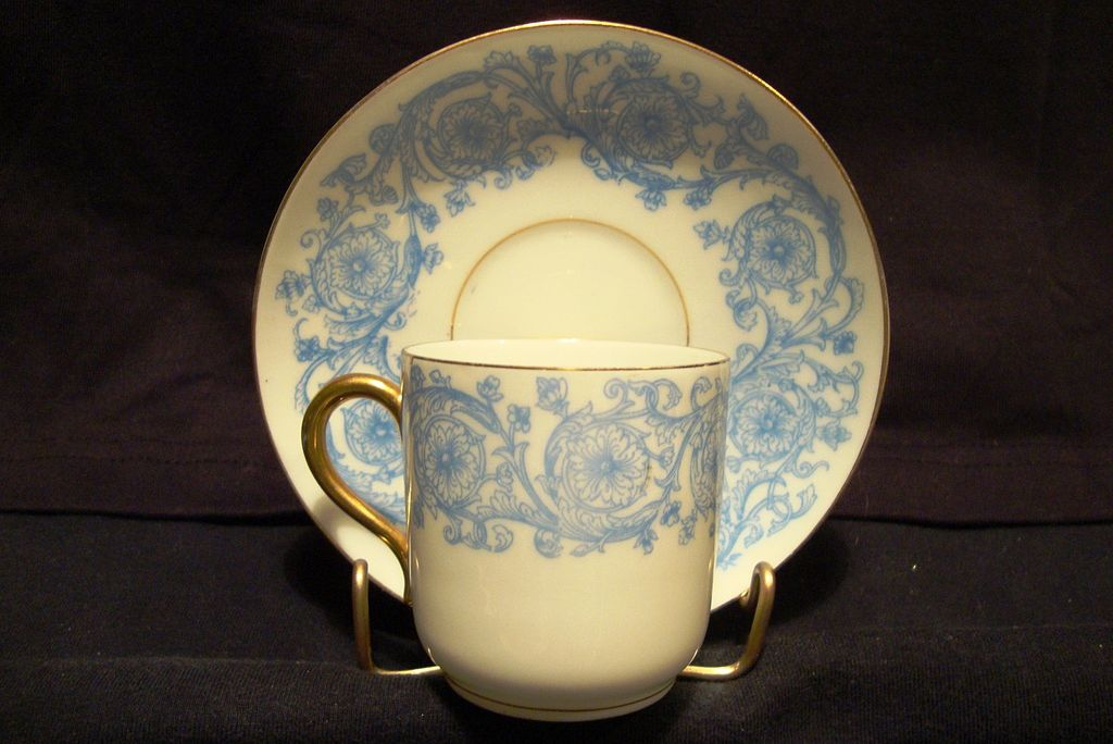 Awesome LIMOGES Porcelain Demitasse Cup and Saucer ~ Blue and White Flowers and Vines ~ Delinieres & Co 1879-1883