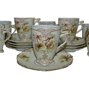 Rare German Chocolate / Demitasse Cup & Saucer~ 8 AVAIL ~ Old Ivory VII ~ Clarion Mold ~ Hermann Ohme Silesia Germany 1900-1920