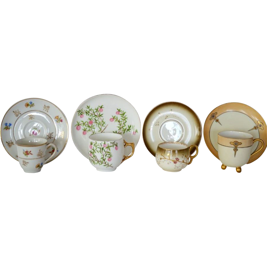 Four Wonderful Demitasse Cups and Saucer Sets ~ Hand Painted ~ Limoges Porcelain ~ Bawo & Dotter Elite Works 1900+  / A. KLINGENBERG 1891 / Haviland 1894-1931 UNION CERAMIQUE ca 1909 - ca 1938  (Limoges, France)