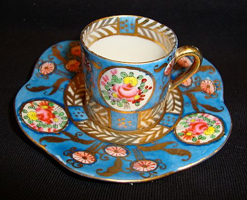 Great Miniature Porcelain Cup And Saucer Hand Painted