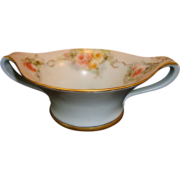 Unique Shaped Limoges Porcelain Looped Handled Candy Dish ~ Hand Painted with Pink and Yellow Roses ~ Tressemann & Vogt ~ Limoges France 1892-1907