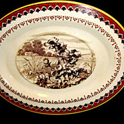 Striking English Transferware Oval Dish with Poppies and Farm House Scene ~ Mintons Staffordshire England 1881