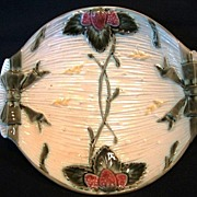Great 132 Yr Old English Majolica Strawberry Server Dish ~  Wedgwood Staffordshire England ca 1878