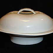 Wonderful Limoges Porcelain Covered Butter Dish ~ White with Basket Weave Braided Handles ~ Haviland & Co Limoges France 1876-1889