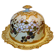 WOW!! Phenomenal Limoges Domed Cheese / Butter Dish ~ Hand Painted with Blackberries & Flowers ~ Artist Initialed ~ Coiffe ~ 1890-1925