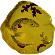 Awesome Majolica Dish with Carp like Fish and Seaweed ~ 8221