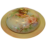 Beautiful Covered Pancake Dish ~ Limoges Porcelain ~ Hand Painted with Pink Cherry Blossoms ~ Jean Pouyat Limoges France 1890-1932