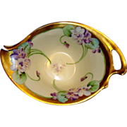 Precious Porcelain Nappy Candy Dish ~ Pickard Studio Hand Painted with Art Nouveau style Purple Violets ~ By Ruth Alexander ~ Pickard Studios Chicago Il 1903-1906