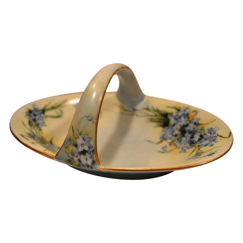 Dainty Limoges Porcelain Basket / Dish Hand Painted with Blue Forget-Me-Nots - PM Mavaleix  1908-1914
