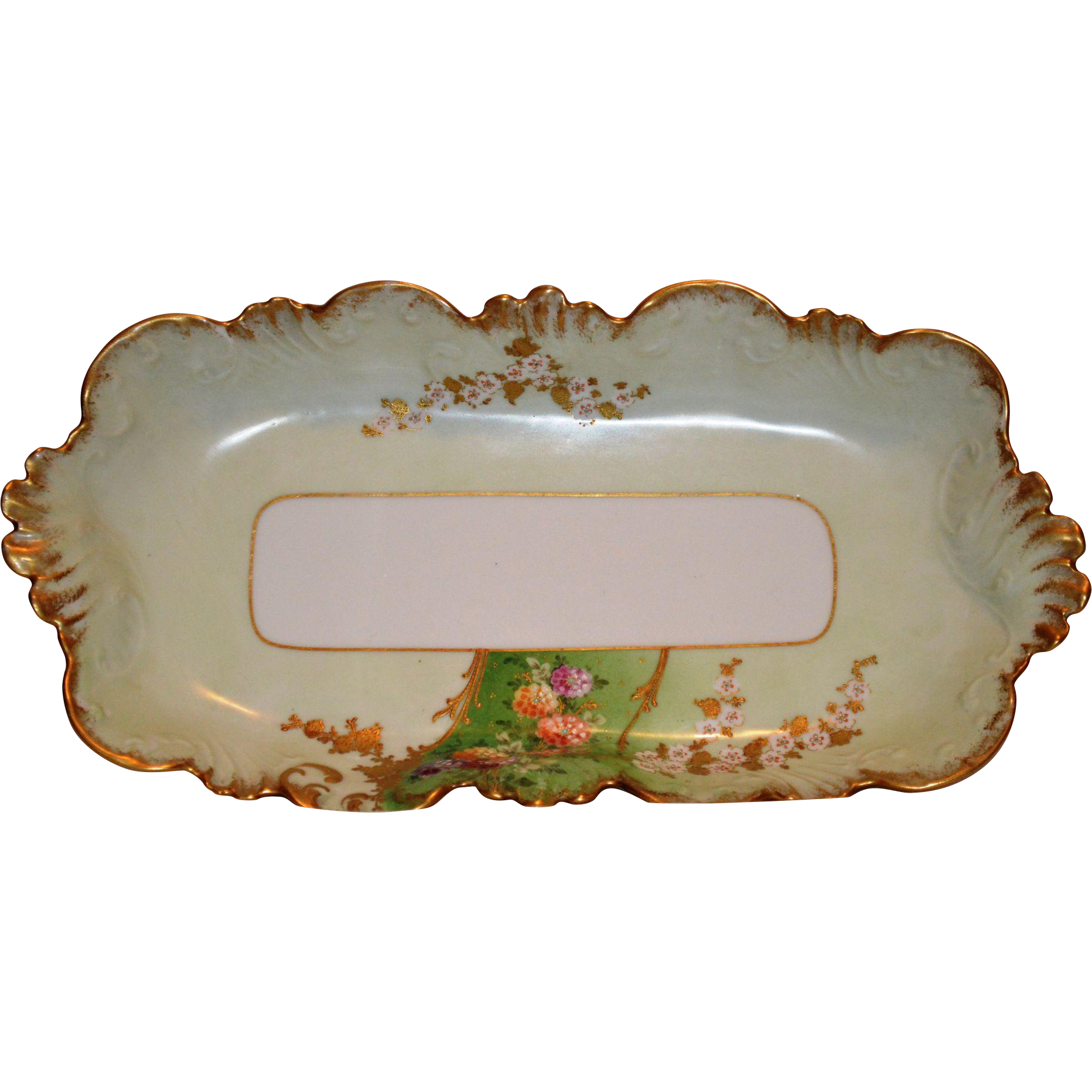 Exquisite  Ice Cream / Sandwich Dish ~ Limoges Porcelain ~ Hand Painted with Flowers and Gold Paste ~ Lavilette Limoges France1896-1905  Lazeyras Rosenfeld & Lehman Limoges France LR&L 1920's