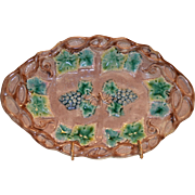 Nice Etruscan Majolica Dish ~ Brown Background with Green Leaves and Bluish Purple Grapes ~ Griffen, Smith, Hill - Phoenixville, PA ~ 1880-1892