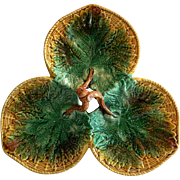 Large Majolica 3 Leaf Lobed  Serving Dish with Handle ~ George Jones ~ England ca 1890 +