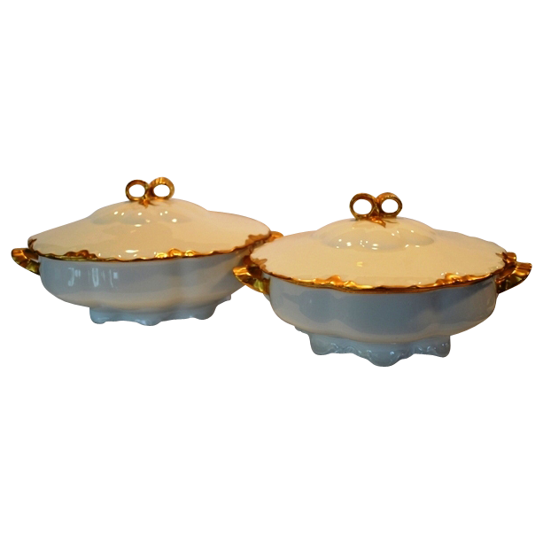 2 ~ Gorgeous Gold & White Covered Serving Dishes ~ German Porcelain  ~ Racine Mold ~ Hutschenreuther Selb Bavaria Germany 1955-1969