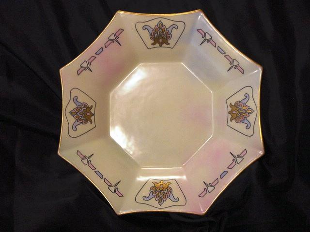 Eight Sided Limoges Dish / Bowl – Muted Rainbow Color Background with Art Nouveau Design- Hand Painted - Paroutaud Freres France 1903-1917