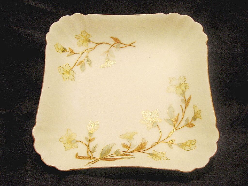 Beautiful 138 Year Old ~ Limoges Porcelain Dish ~ Matte / Bisque Finish ~ Hand Painted with Yellow Flowers ~ Bawo & Dotter Limoges France 1870-1880