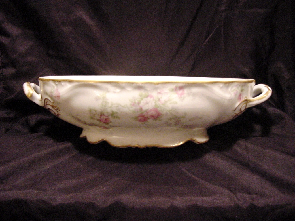 50% OFF!  Delicate Limoges 11'' Oval Serving Dish ~ Factory Decorated with Pink & White Roses ~ Charles J.Ahrenfeldt 1894-1930