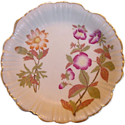 EXQUISITE English Porcelain Bisque / Matte Dish ~ Hand Painted with Magenta and Golden Flowers ~ Royal Worcester England ~ 1888