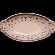 "Wonderful Old English George Jones Dish with Blue Black Transfers ~ Pattern ""Margaret""  - George Jones and Sons ca.1890"