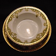 Striking Limoges Porcelain Ramekin and Under Plate ~ Factory Hand Painted with White Flowers ~ Coiffe France 1891-1914
