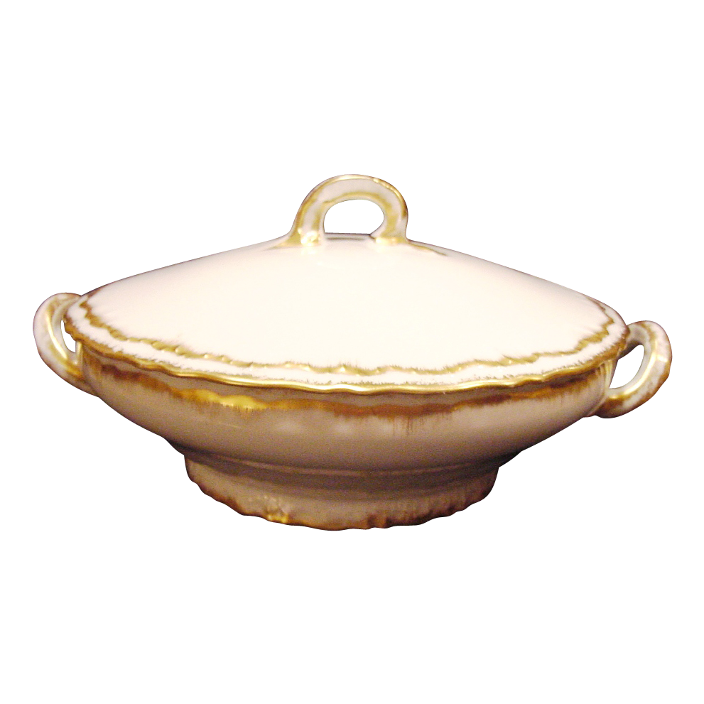 Exquisite Limoges Porcelain Covered Casserole Dish ~ Factory Decorated with Sponge Gold ~ Theodore  Haviland ca. 1904-1925