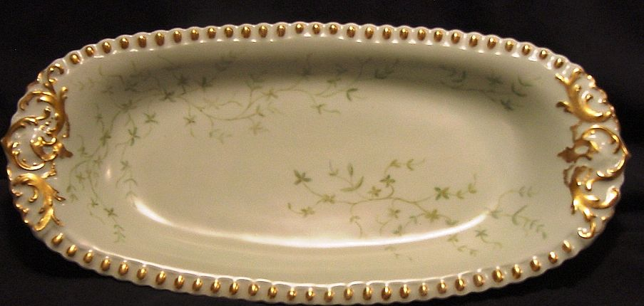Beautiful Limoges Porcelain Relish / Celery Tray ~ Hand Painted with Green Vines ~ T & V Tressemann & Vogt 1892 – 1907