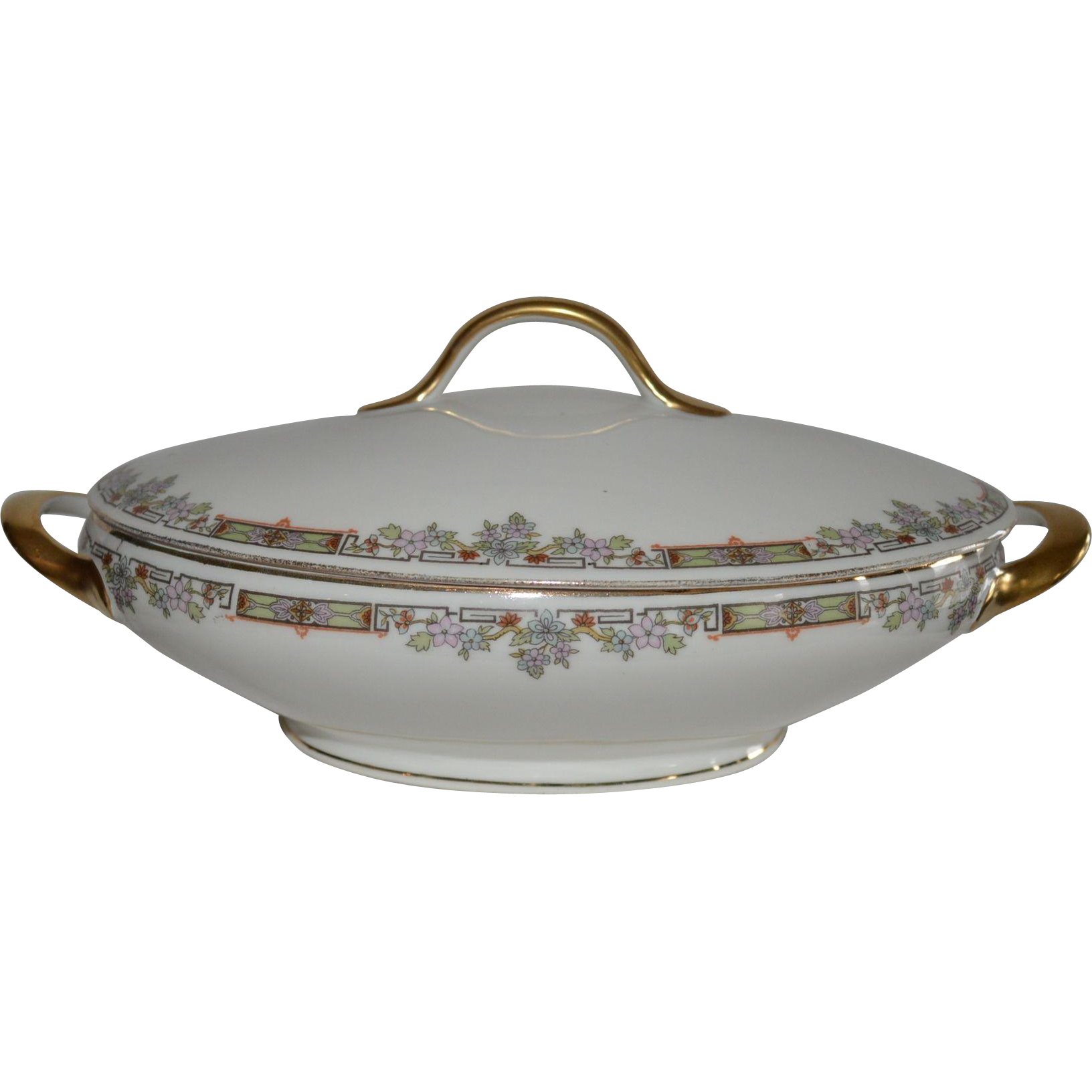 Nice Limoges Porcelain Covered Dish ~ Hand Painted with Colorful Flowers and Geometric Designs ~ Tressemann & Vogt ( T&V )  1907