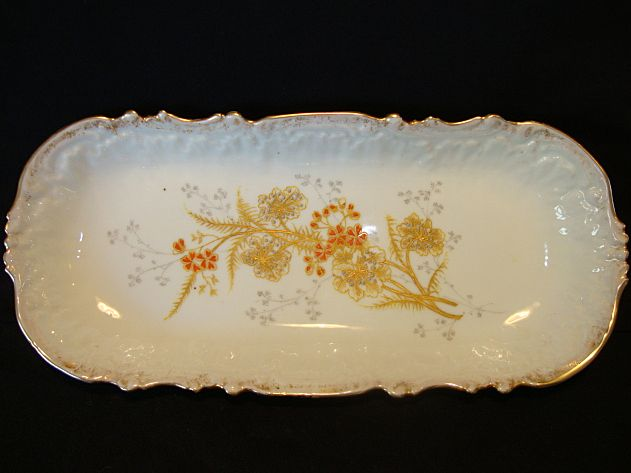 Beautiful Limoges Porcelain Relish Tray / Plate Hand Painted with Orange and Gold Flowers – Coiffe / Lewis Strauss & Son France 1891-1914