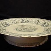 Amazing English Earthenware Pedestal Blue and White Transferware Dish ~ Robinson, Wood & Brownfield Cobridge Staffordshire England 1836-1841