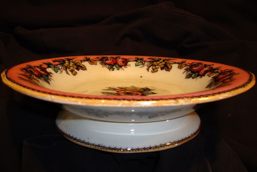"Wonderful Old English Compote Decorated with Red Roses and Golden Grapes ~ ""Roses"" pattern~ Hancock, Whittingham, & Co 1863-1872 England."