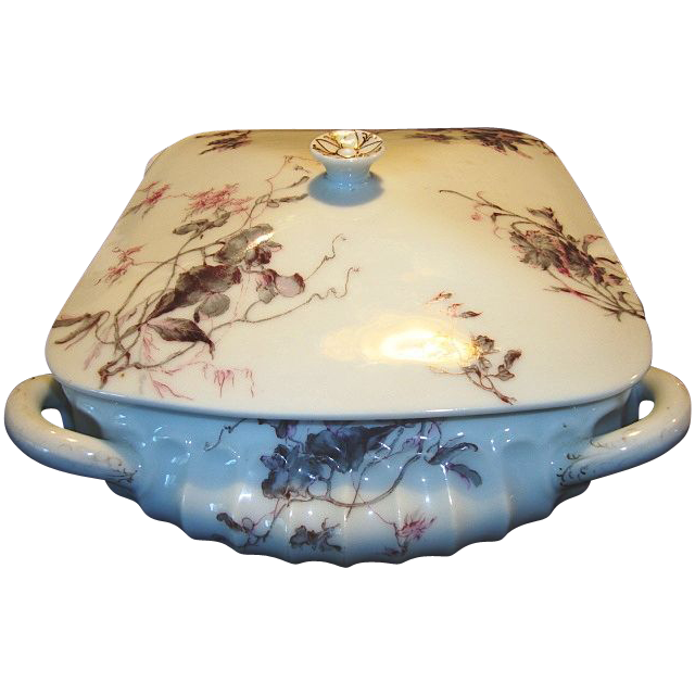 "Wonderful & Unique Shaped ~ Limoges Porcelain ~ Four Handled Covered Dish ~ Factory Decorated with ""Old Pink and Gray or Old Pansy Multi-floral Pattern"" ~ Cannele Droit Mold ~ Haviland & Co France 1876-1889"
