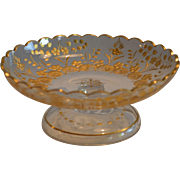 Cut Glass Footed Candy dish with gold painted Flowers