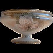 German Porcelain Pedestal / Bon Bon Dish ~ White Roses #88 ~ Reinhold Schlegelmilch ~ Prussia ~ 1900-1920