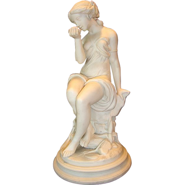 "Large 16""  Parian Figurine / Statue of a young woman drinking from a shell circa late 1800's to early 1900's. ,"