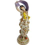 Beautiful German Porcelain Dancing Figurine  ~ Volkstedt Porcelain Factory Thuringia Germany 1945+