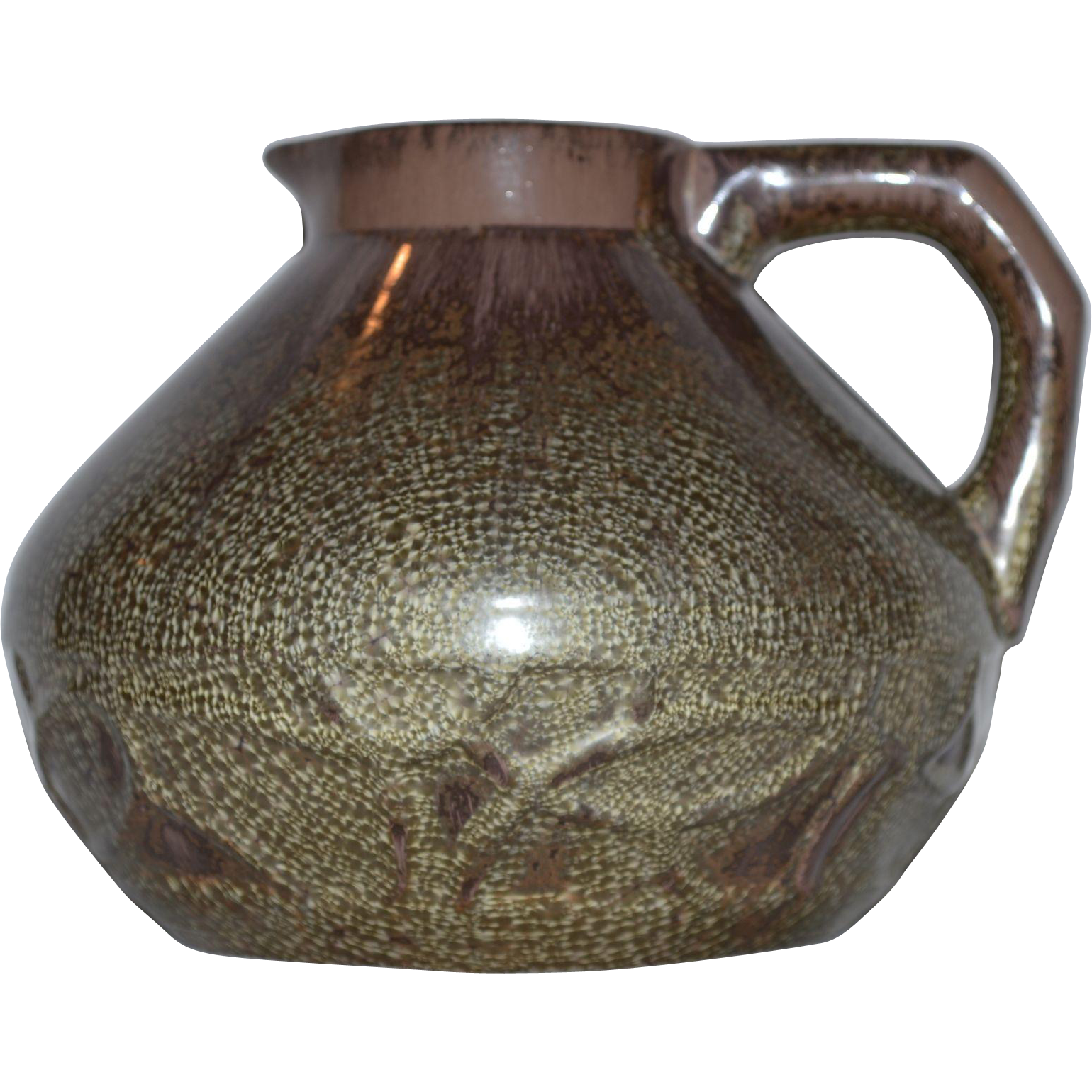 French Pitcher / Vase ~ Squat Bulbous ~ Cucumber Crystalline Glaze ~ Green-Gray & Brownish Purple ~ Etna Line 4210~ Sarreguemines France 1900's