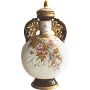 "Rare FMC Vase~14.5"" Tall ~ Hand Painted with Wild Pink Roses ~ Designer Art Director Edward Lycett ~  Faience Manufacturing Company – circa 1886-1890."