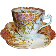 Outstanding English Pre Shelley Porcelain ~ Cup, Saucer~ Mauve Aesthetic Pattern ~ Wileman & Co Foley Potters Staffordshire England 1890-1910