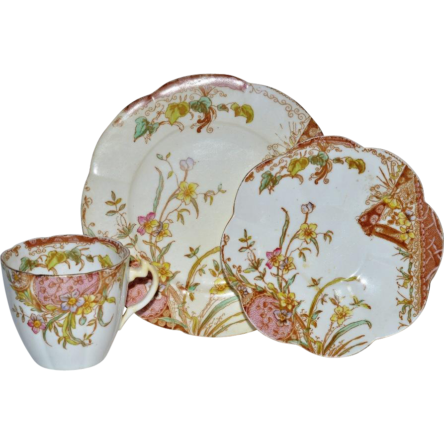 Cup, Saucer and Luncheon Plate Trio (3 available) ~ Outstanding English Pre Shelley Porcelain ~Mauve Aesthetic Pattern ~ Wileman & Co Foley Potters Staffordshire England 1890-1910