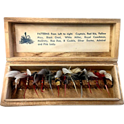 Vintage Fly fishing tackle - 12 flies and pattern names in wood storage case.