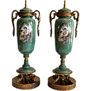 Lovely pair of Nippon Garniture's with Allegorical Sevres style romantic scene. Circa 1940's - Moriyama Pottery.