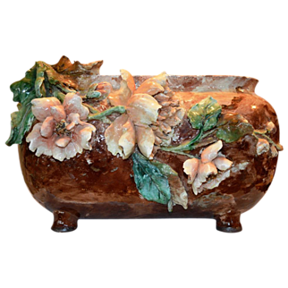 "Stunning 16.5"" Haviland  Co. Barbotine Terra Cotta Jardiniere. Sculpted with Applied flowers in Gros Relief. Auteuil studios, Paris 1875-1882. Marked Haviland & Co Limoges."