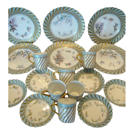 Amazing 18 Piece Haviland Limoges Porcelain Dessert Set ~ Hand Painted Torse or Cannele Blue Rim and Star Flowers ~ Mold #143 ~ Haviland & Co Limoges France 1876-1896