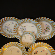 FIVE Amazing Limoges Porcelain Dessert Plates ~ Hand Painted Torse or Cannele Blue Rim and Star Flowers ~ Mold #143 ~ Haviland & Co Limoges France