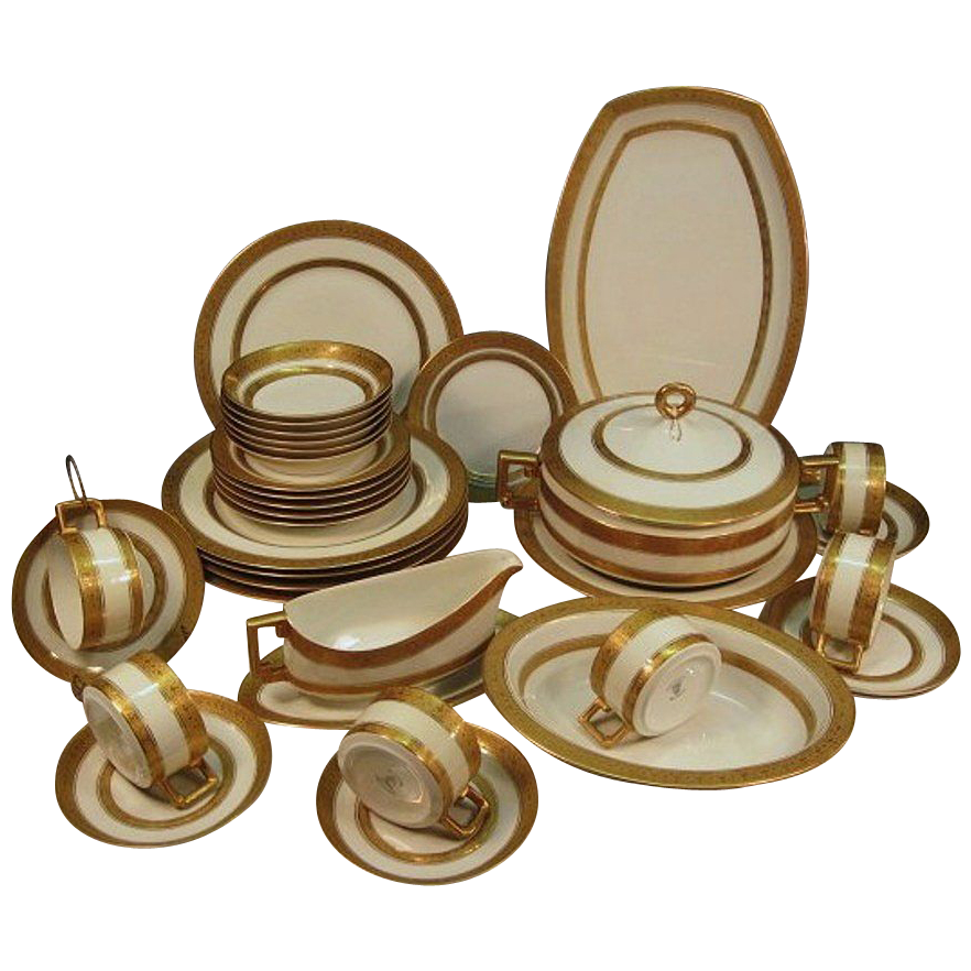 Porcelain Dinner Set for 6 ~ 35 Piece Gold Encrusted / Embossed Bavarian   ~ Imperial Style ~ Heinrich & Co Selb Bavaria 1930-1939